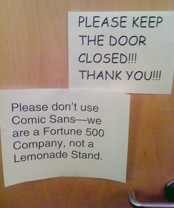 Funny Comic Sans Sign