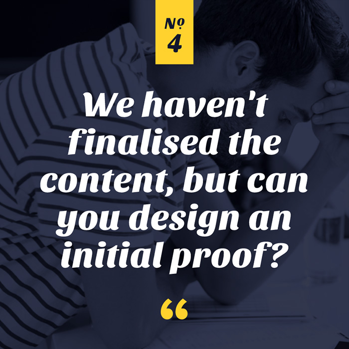 We haven't finalised the content, but can you design an initial proof?